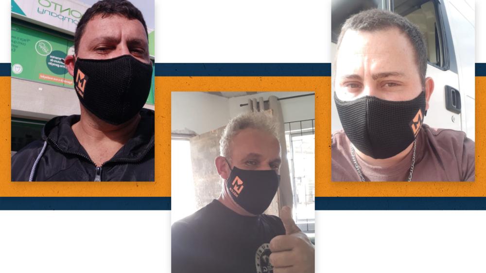 Motoristas parceiros usando a máscara Melck